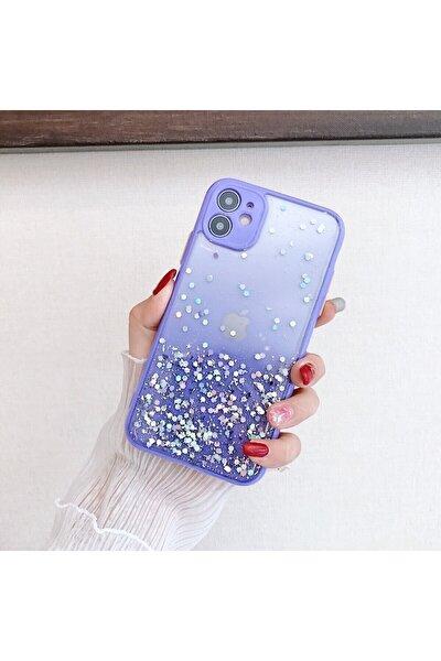 Iphone 11 Parlak Simli Darbe Önleyici Kenarları Renkli Kılıf Lila