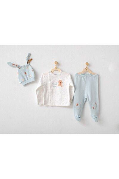 Erkek Bebek Mint Organik Bebek Takım 3 Parça
