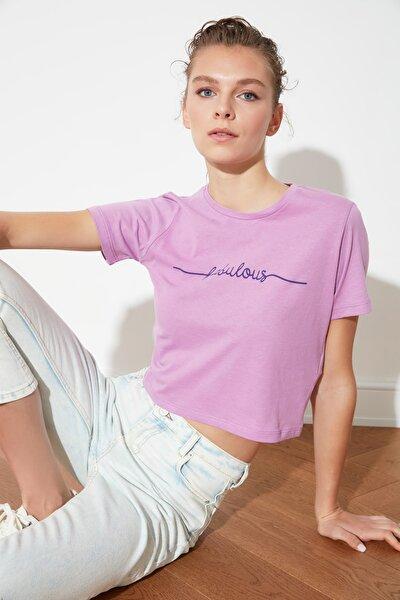 Lila Crop Baskılı Örme T-Shirt TWOSS21TS1508