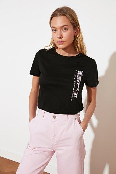 Siyah Basic Örme T-Shirt TWOSS21TS2135
