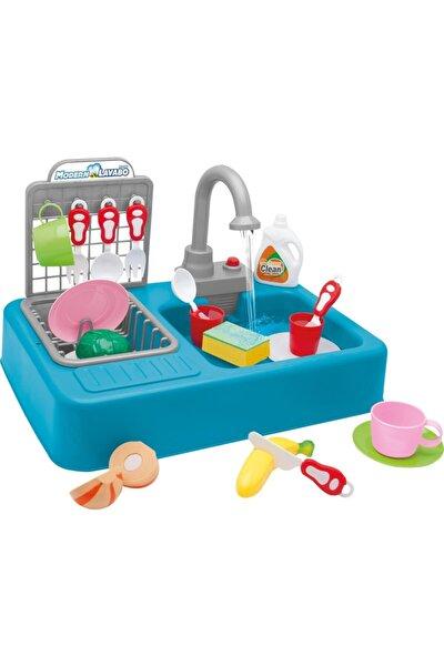 Kayyum Modern Oyuncak Mutfak Seti Çeşmeli Lavabo Pilli Mavi Renk