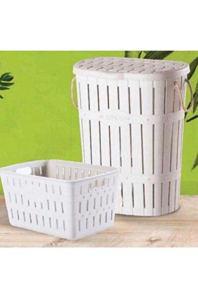 Beyaz Bambu Halatlı Kirli Çamaşır Selesi Sepeti