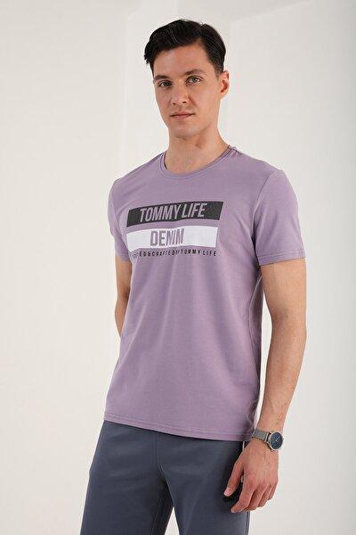 Erkek Eflatun Baskılı Kısa Kol Dar Kesim O Yaka T-shirt 87292