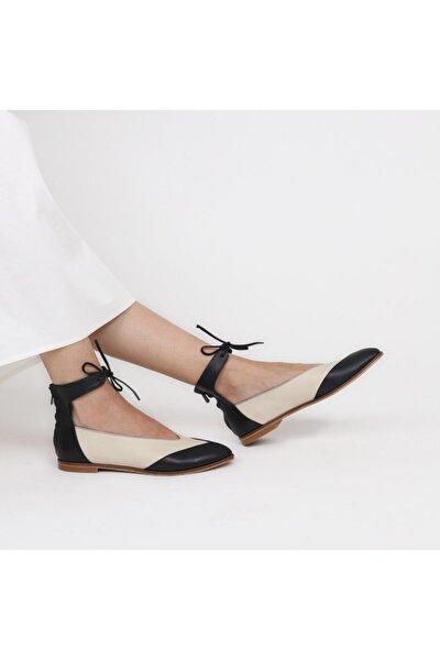 Kadın Siyah Ekru Deri Özel Tasarım Ayakkabı