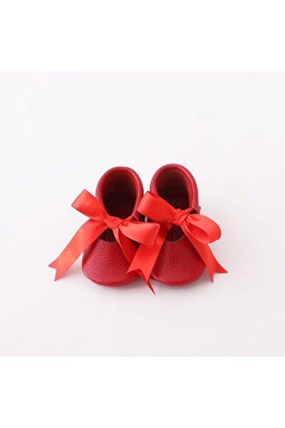 Ballerina Hakiki Deri Kız Bebek Ilk Adım Ayakkabısı Kırmızı