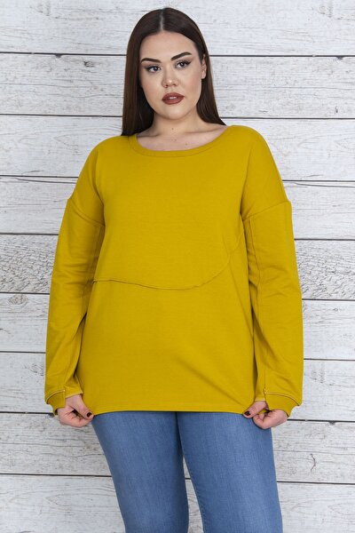 Kadın Safran Ön Ve Kol Detaylı Sweatshirt 65N23406