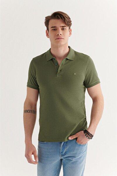 Erkek Haki Polo Yaka Düz T-shirt E001004