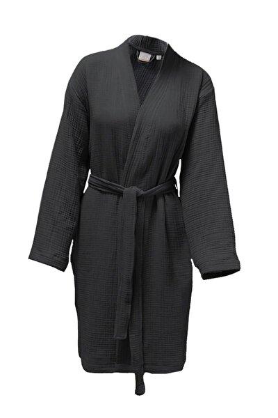 Unisex Antrasit 4 Kat Müslin Sabahlık / Bornoz /kimono