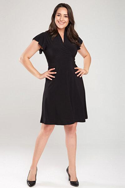 Kadın Siyah Kruvaze Yaka Elbise 17LB9102