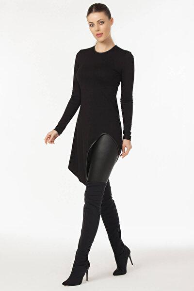 Kadın Siyah Asimetrik Kesim Bluz 19L6490