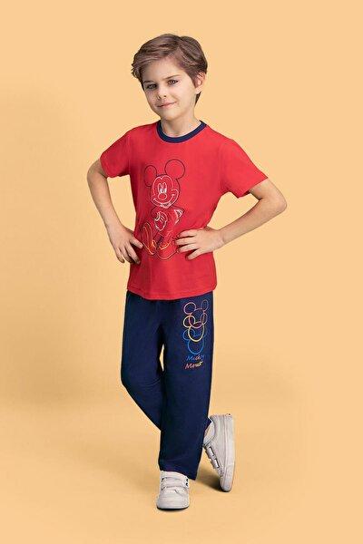 Mickey & Minnie Mouse Lisanslı Kırmızı Erkek Çocuk Pijama Takımı