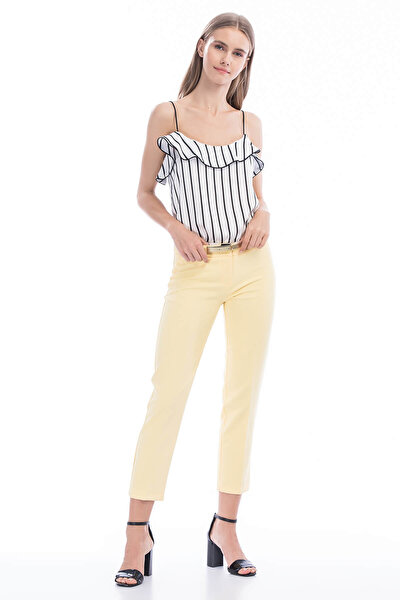 Kadın Sarı Dar Paça Kumaş Pantolon 1581-891A