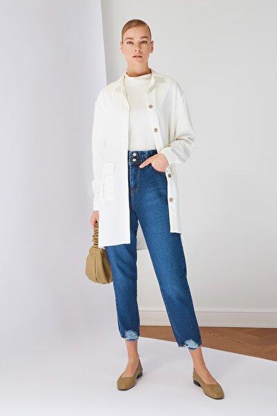 Mavi Yüksek Bel Mom Jeans TCTSS21JE0603