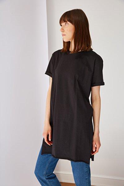 Siyah Basic Tunik T-shirt TCTSS21TN0056