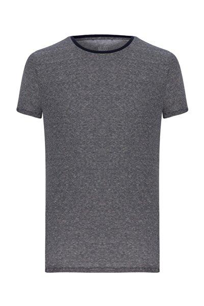Erkek Lacivert Baskılı Kısakol T-Shirt 1196382