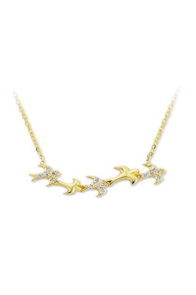 Kadın 925 Ayar Gümüş Beş Kuş Figürlü Kolye FGKQUV591