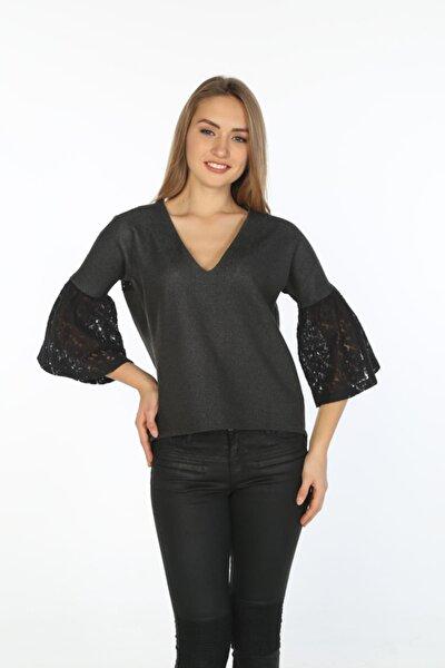 Kadın Antrasit  İspanyol Kol Dantel Detaylı Fermuarlı Bluz  Hn289