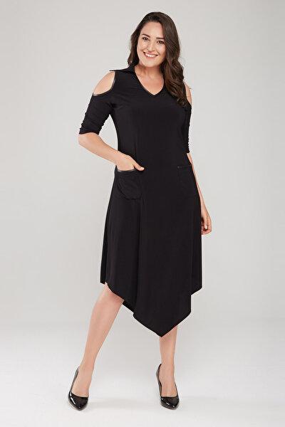 Kadın Siyah Omuz Detaylı Gömlek Yaka Asimetrik Kesim Elbise 17LB9092
