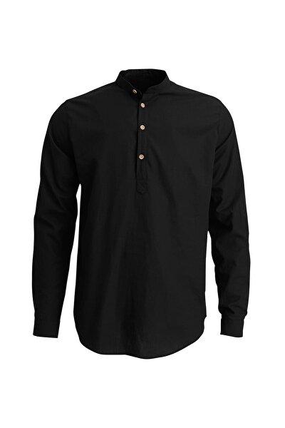 Siyah Erkek Gömlek HENLEY SHIRT NIGHT