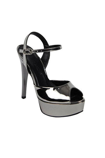 Kadın Antrasit Rengi Dolgu Topuk Abiye Ayakkabı MIA