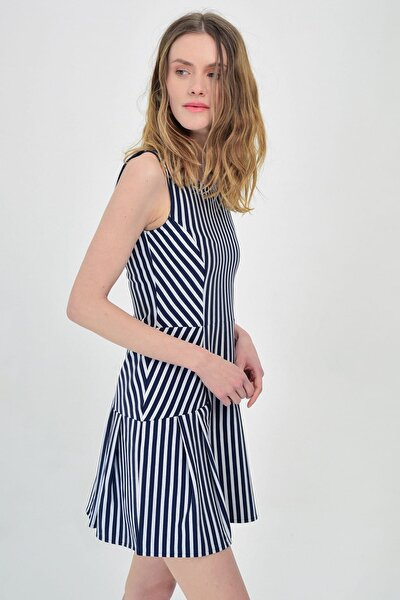 Kadın Lacivert Beyaz Çizgili  Kolsuz Çan Elbise  Hn1414