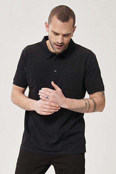 Erkek Koyu Siyah Polo Yaka Cepli Regular Fit Bol Kesim Düz Tişört
