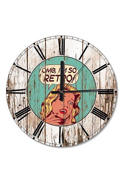 50 Cm Çap Retro Kadın Ahşap Duvar Saati