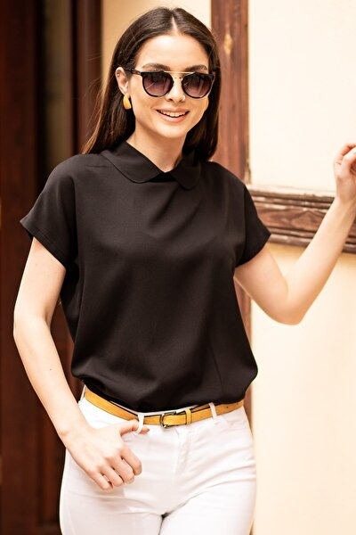 Kadın Siyah Bebe Yaka Bluz ARM-19Y001064