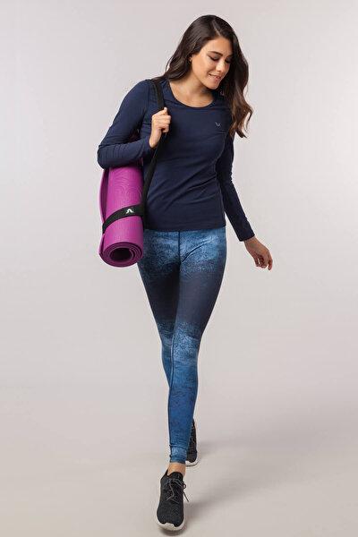 Lacivert Likralı Pamuklu Kadın T-Shirt EW-3091