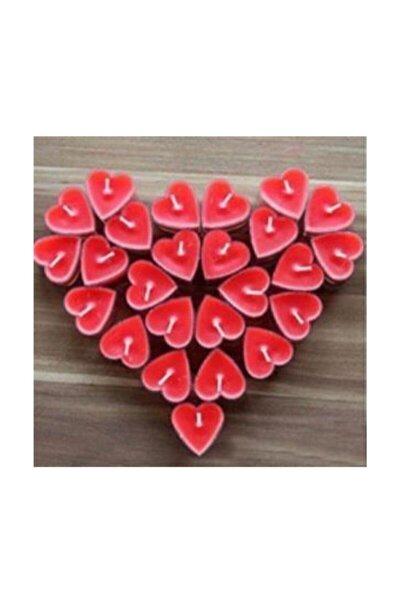 Kırmızı Kalpli Tealight Mum 50'li
