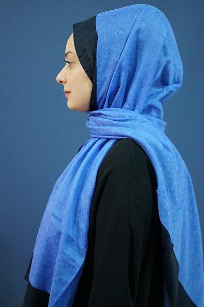 Kadın Mavi Monogram Şal