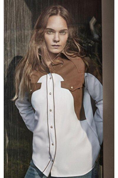 Kadın Kahverengi Kovboy Gömlek