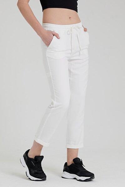 Kadın Beyaz Bağcıklı Double Hürrem Pantolon