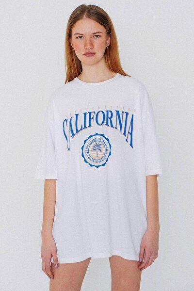 Kadın Beyaz Oversize T-Shirt P1130 - W4 Adx-0000023764