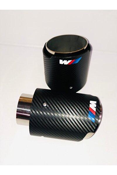 Bmw Uyumlu M Logolu Egzoz Ucu Karbon Kaplama Paslanmaz 90 mm