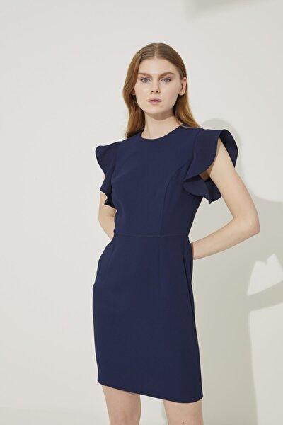 Kadın Lacivert Kol Detaylı Elbise