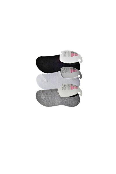 Kadın Siyah Gri Ve Beyaz Babet Çorap 3 Çift