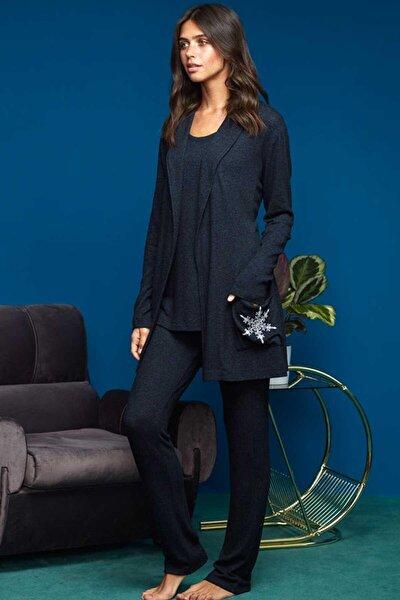 Kadın Lacivert Pijama Takımı 3 Parça 8652