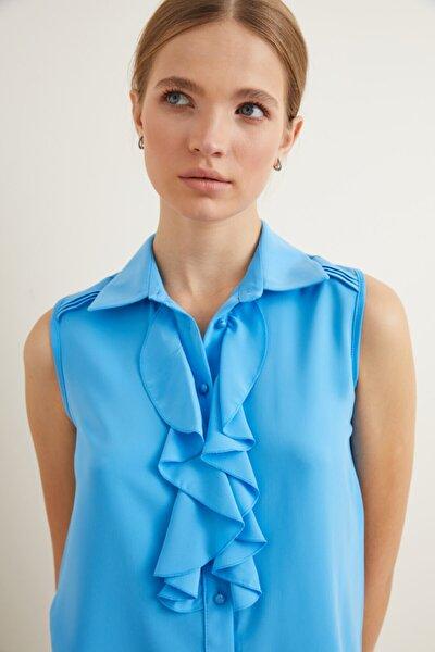 Kadın Turkuaz Volanlı Kolsuz Gömlek