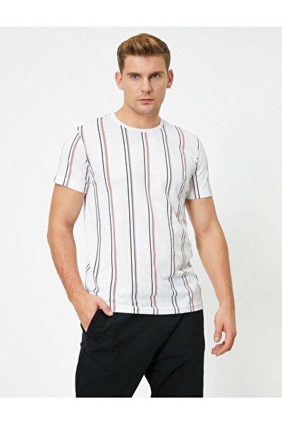 Erkek Beyaz Kısa Kollu Bisiklet Yaka Çizgili T-Shirt