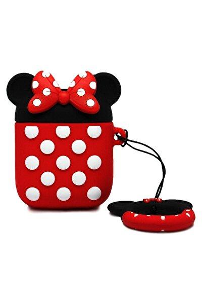 Kırmızı Minnie Mouse Tasarımlı Airpods Uyumlu Kılıfı