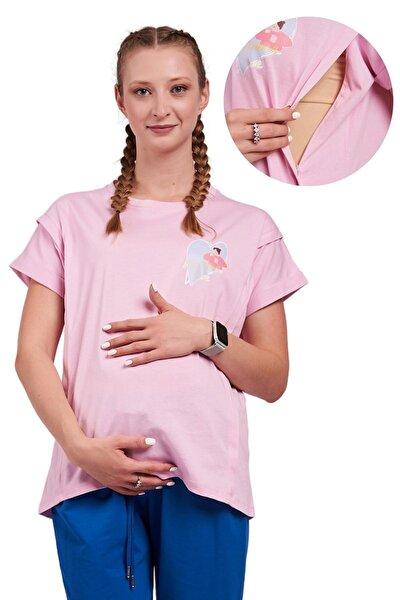 Hamile Ve Emzirme Tişörtü %100 Pamuk Geniş Kalıp Pembe Baskılı