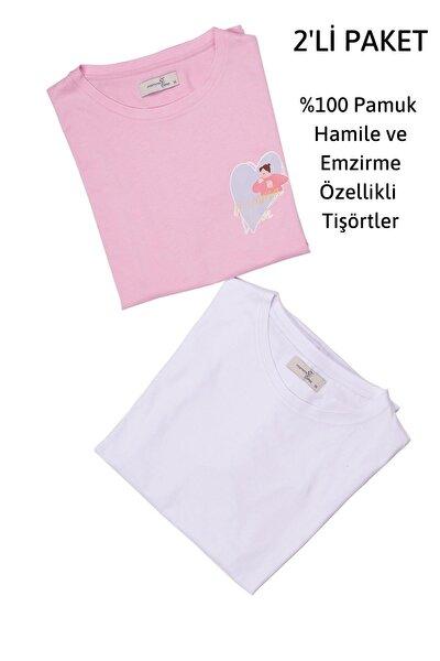 2'li Hamile Emzirme Tişörtler, 2'li Paket, Geniş Kalıp, Baskılı Pembe Ve Baskısız Beyaz
