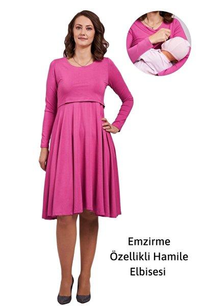 Emzirme Özellikli Hamile Elbisesi, Çan Elbise Milana, Red Violet