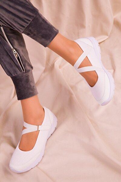 Kadın Beyaz Ortopedik Memory Foam Sneaker Spor Ayakkabı