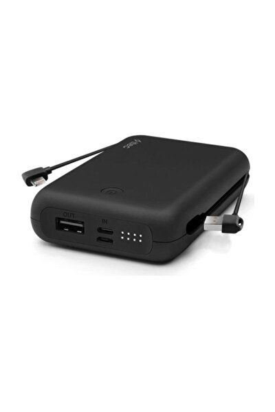 Recharger Duo+ Iphone Lightning Dahili Kablolu Taşınabilir Şarj Aleti / Powerbank Siyah 10.000mah
