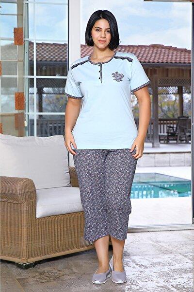 Kadın Mavi Büyük Beden Kapri Yazlık Penye Pijama