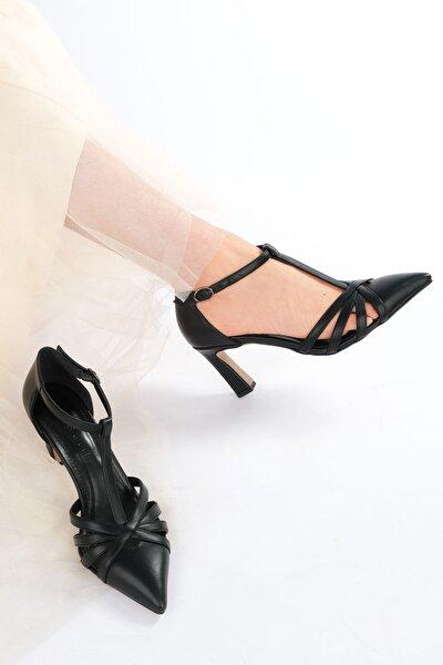 Kadın Siyah Klasik Topuklu Ayakkabı Aksiler