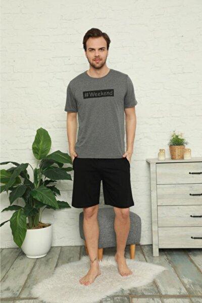 Erkek Gri Pamuklu Kısa Kollu Şortlu Pijama Takımı
