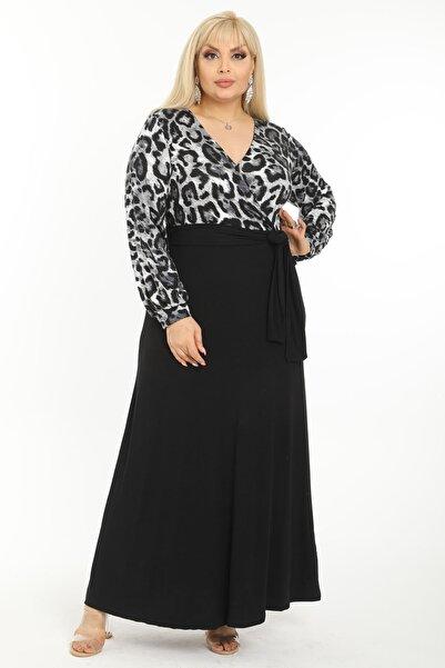 Kadın Gri Leopar Desenli Maksi Uzun Kol Büyük Beden Elbise